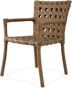 Cadeira Lone com Bracos Estrutura Aluminio Revestido em Fibra Sintetica cor Madeira - 44542 Sun House