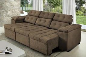 Sofa Itália 2,40 Mts Retrátil E Reclinavel Tecido Suede Café - Cama Inbox