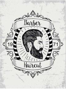 Placa Decorativa Barber Haircut Branca com Impressão Digital em Metal