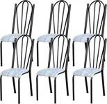 Kit 06 Cadeiras Tubular Cromo Preto 021 Assento Linho
