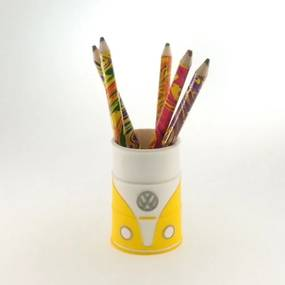 Porta lápis emborrachado kombi amarela