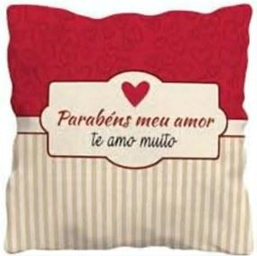 Almofada Quadrada Personalizada Sude Presentes Parabéns Meu Amor Vermelha