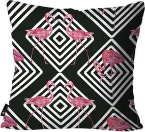 Capa para Almofada Mdecore Flamingos Preto 35x35