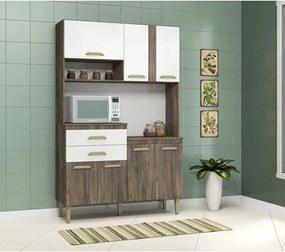 Cozinha Dora 7 Pts e 2 Gav. Naturalle/Branco Fellicci Móveis