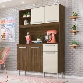 Kit Cozinha Compacta Prado 5 Portas Castanho/Baunilha - Moval