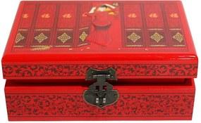Caixinha de Jóias em Madeira Nanjing Vermelha