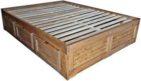 Cama Casal Box - 6 Gavetas - Madeira Maciça - Cera Mel