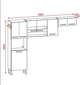 Cozinha Compacta Turim 8 Portas Nogal/White - Kit's Paraná