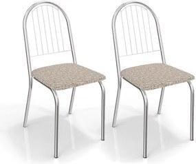 Kit com 2 Cadeiras para Copa, Cromada, Linho Marrom, Portugal III