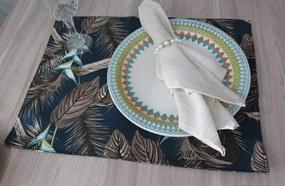 4 peças - lugar americano Floral Azul - repelente a agua