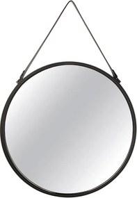 Espelho Redondo Em Metal Preto - 45 cm