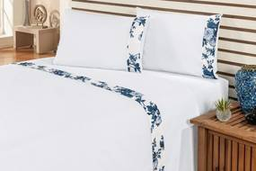 Jogo de Cama Marebre Casal Floral Azul Com Elástico com 4 peças - Enxovais Ibitinga