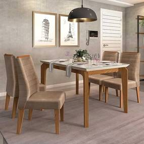 Mesa de Jantar Dália 140cm Carvalho Nobre Off White + 4 Cadeiras Curvata Veludo Kraft