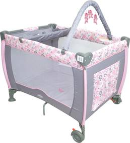 Berço Plus Desmontável Vira Chiqueirinho Baby Style Rosa