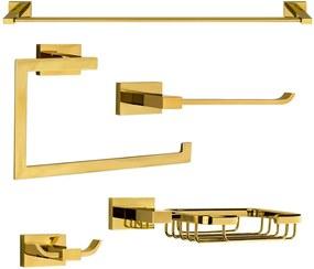 Kit de Acessórios para Banheiro (Mondrian Dourado)