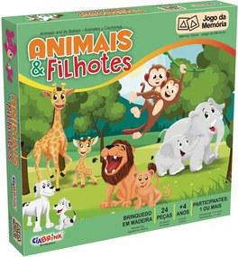 Jogo Da Memória Animais e Filhotes Ciabrink Colorido Verde