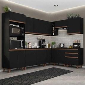 Cozinha Completa de Canto Madesa Reims 462001 com Armário e Balcão Preto Cor:Preto
