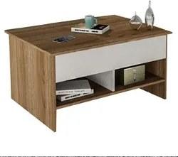 Mesa de Centro Articulada com Nichos Pop Up MES 4003 Castanho/Branco -