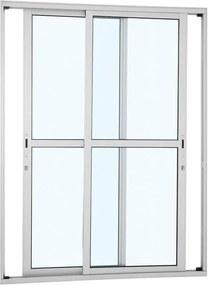 Porta de Alumínio de Correr Alumifort Branca com Divisão Central 2 Folhas Móveis 216x160x9,2 - Sasazaki - Sasazaki