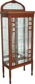 Cristaleira Vitoriana Clássica em Madeira Maciça e Interior Espelhado