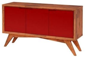 Buffet Serafim 3 Portas Natural e Vermelho - Wood Prime MP 27620