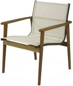 Poltrona Moline Assento em Tela cor Branco com Base Madeira Cumaru - 44855 Sun House