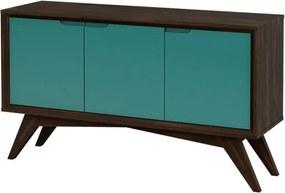 Buffet Serafim 3 Portas Envelhecido e Turquesa - Wood Prime MP 27644