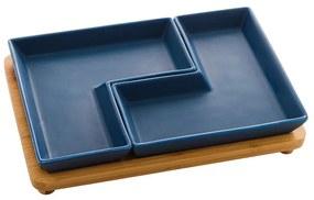 Jogo 2 Petisqueira Porcelana Azul Matt Com Bandeja 23x15x5cm 28473 Bon Gourmet