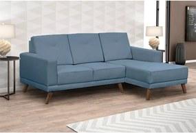 Sofá Xander C/ 3 Lugares (L: 200cm) C/ Chaise Suede Liso Azul Claro