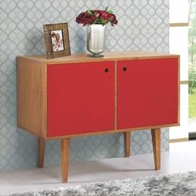 Buffet 2 Portas Vintage Vermelho Laqueado Fosco e Estrutura Madeira Maciça