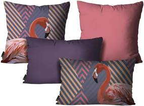 Kit com 4 Almofadas Flamingo RoxoKit 4