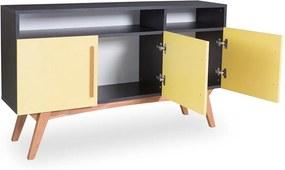 Buffet Preto Medin com 2 Nichos e 3 Portas Coloridas