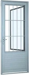 Porta Social de Abrir com Postigo, Grade e Lambri Horizontal Alumínio Branco Alumifort Direita 216x88x5,4cm - 76362009 - Sasazaki - Sasazaki