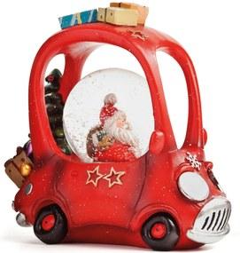 Enfeite Natal Globo De Água Papai Noel Dirigindo Carro Led