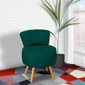 Poltrona Decorativa Sala de Estar Pés Palito em Madeira Europa Couro / Verde - Gran Belo