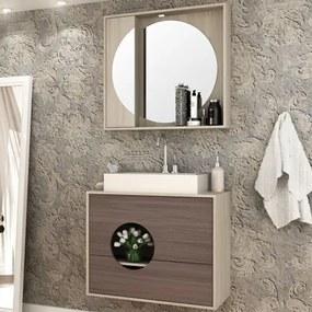 Kit Banheiro Gabinete 80cm Cuba e Armário com Espelho Florença Taeda/Gris - Bosi