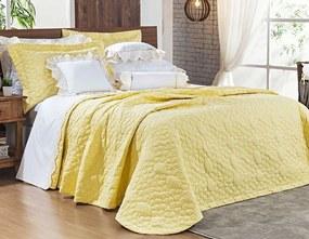 Cobre Leito Darla Super King Flores Bordadas cor Amarelo com 3 peças
