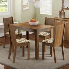 Conjunto Sala de Jantar Madesa Rute Mesa Tampo de Madeira com 4 Cadeiras Rustic/Lírio Bege Cor:Rustic/Floral Lírio Bege