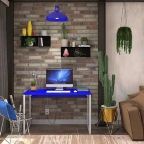Mesa em Metal com tampo de Aço Colorido | Tam: 120x60 |Cor: Azul e Branco