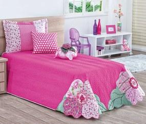 Cobre Leito Solteiro Glamour com Patchwork Artesanal 06 Pçs - Pink