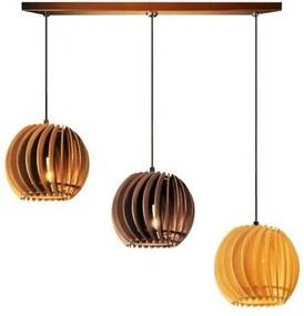 Pendente trio triplo de madeira | Canopla Retangular | 21x19cm | Soq: E-27 | Mesclado C | Mod: Tulipa