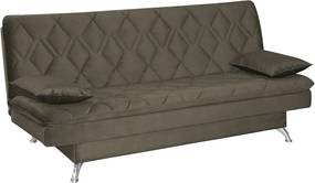 Sofá Cama Sala de Estar 193cm Belinda com Pés Alumínio Veludo Marrom Claro - Gran Belo