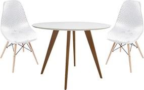 Conjunto Mesa Square Redonda Branco Fosco 88cm + 2 Cadeiras Eames Colméia Branca Base Madeira