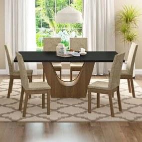 Conjunto Sala de Jantar Madesa Údine Mesa Tampo de Madeira com 6 Cadeiras Rustic/Preto/Imperial Cor:Rustic/Preto/Imperial