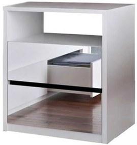 Mesa de Cabeceira 2 Gavetas Espelhadas  Branco M Foscarini