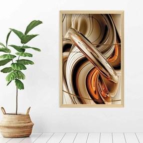 Quadro Love Decor Com Moldura Abstrato Madeira Clara  Médio
