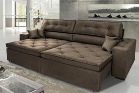 Sofá Austin 2,42m Retrátil Reclinável, Molas No Assento E Almofadas, Tecido Suede Velusoft Café