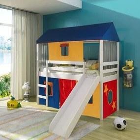 Cama Infantil com escorregador Tenda Multicores e Telhado Completo - Casatema