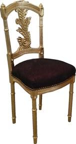 Cadeira Clássica Importada Folheada a Ouro Marrom Camurça