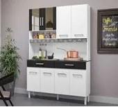 Kit Cozinha 8 Portas Bari Aplique Decorativo Branco Preto Nicioli